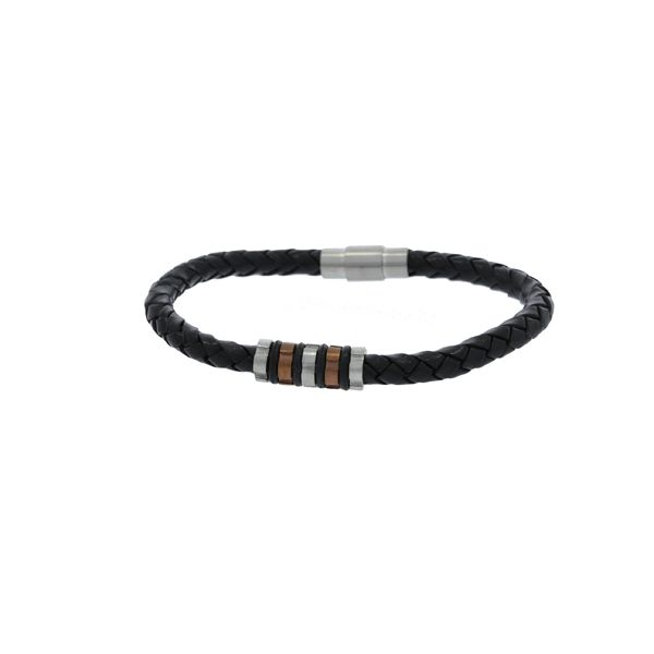 Round Plaited Leather Bracelet With Brushed Finish Stainless Steel Clasp, And 2 Tone Beaded Section - Black Georgies Fine Jewellery Narooma, New South Wales