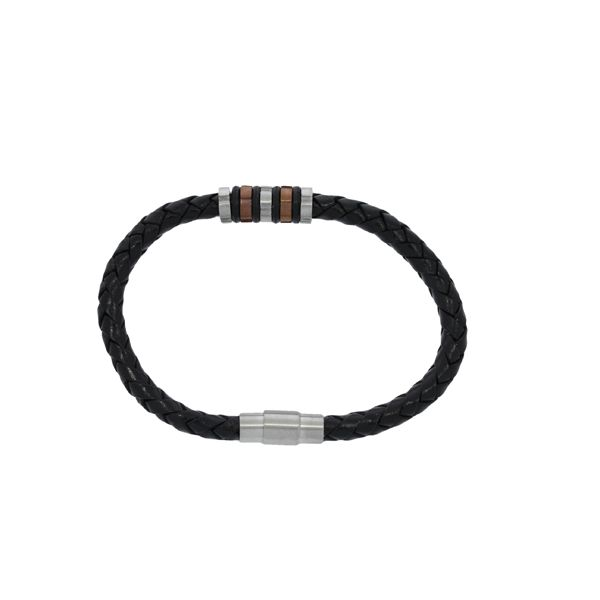 Round Plaited Leather Bracelet With Brushed Finish Stainless Steel Clasp, And 2 Tone Beaded Section - Black Image 3 Georgies Fine Jewellery Narooma, New South Wales