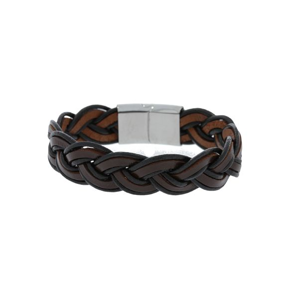 Black And Brown Leather Wide Plaited Bracelet With Stainless Steel Clasp - 21.5Cm Georgies Fine Jewellery Narooma, New South Wales