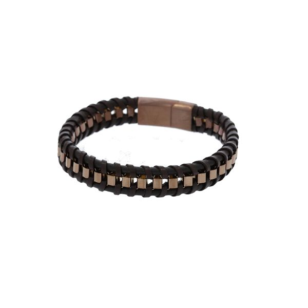 Brown Leather Plaited Flat With Bronze Coloured Square Stainless Steel Chain Weave Bracelet Featuring Bronze Coloured Stainless  Georgies Fine Jewellery Narooma, New South Wales