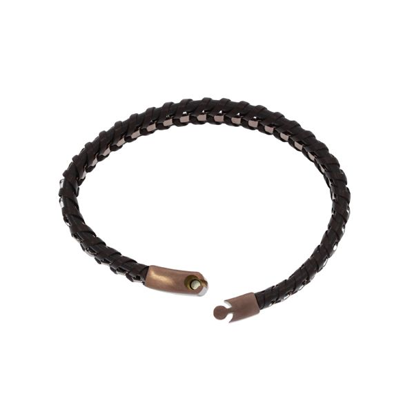 Brown Leather Plaited Flat With Bronze Coloured Square Stainless Steel Chain Weave Bracelet Featuring Bronze Coloured Stainless  Image 2 Georgies Fine Jewellery Narooma, New South Wales