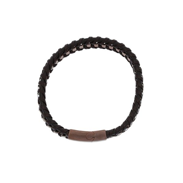 Brown Leather Plaited Flat With Bronze Coloured Square Stainless Steel Chain Weave Bracelet Featuring Bronze Coloured Stainless  Image 3 Georgies Fine Jewellery Narooma, New South Wales