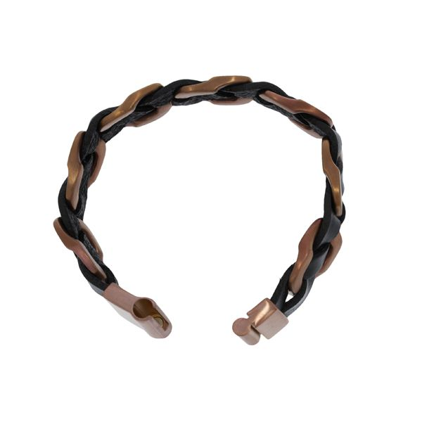 Chunky Black Leather And Brass Link Chain Braided Bracelet With Brass Magnetic Clasp - 21.5CM Image 2 Georgies Fine Jewellery Narooma, New South Wales