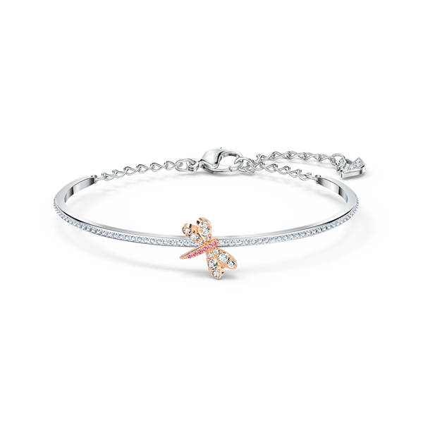 Swarovski Rose Gold Plated Eternal Flower Bangle Fly - Medium Georgies Fine Jewellery Narooma, New South Wales