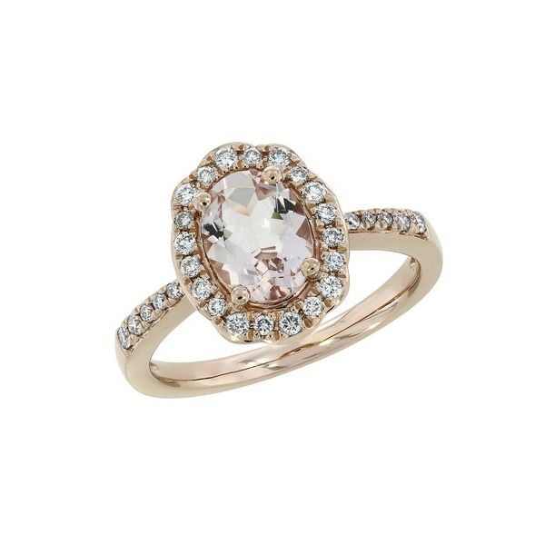 14KR Morganite and Diamond Engagement Ring Goldrush Jewelers Marion, OH