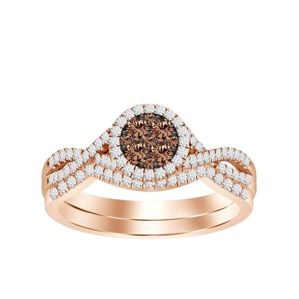 10k Rose Gold .35CTW White and Chocolate Diamond Wedding Duo Goldrush Jewelers Marion, OH