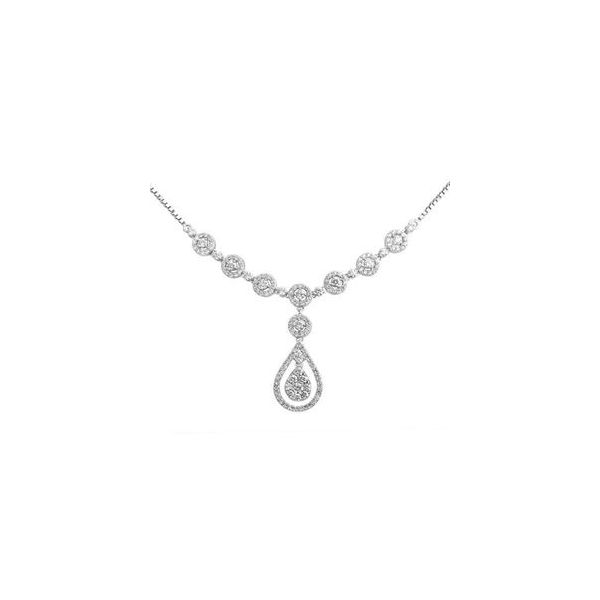 10k White Gold 2.75 CTW Diamond Drop Pendant Statement Necklace Goldrush Jewelers Marion, OH