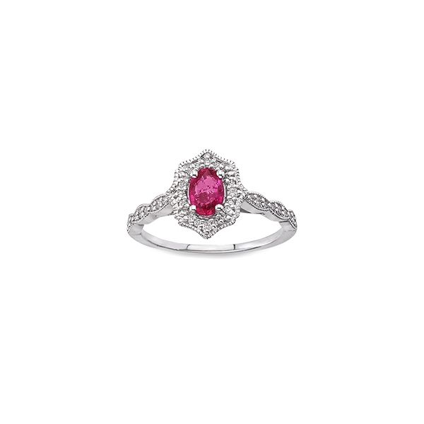 10k White Gold .20t Diamond and Ruby Vintage style Ring Goldrush Jewelers Marion, OH