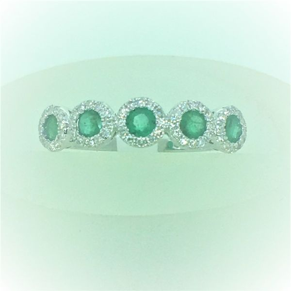 14k White Gold Emerald and Diamond Ring Goldrush Jewelers Marion, OH