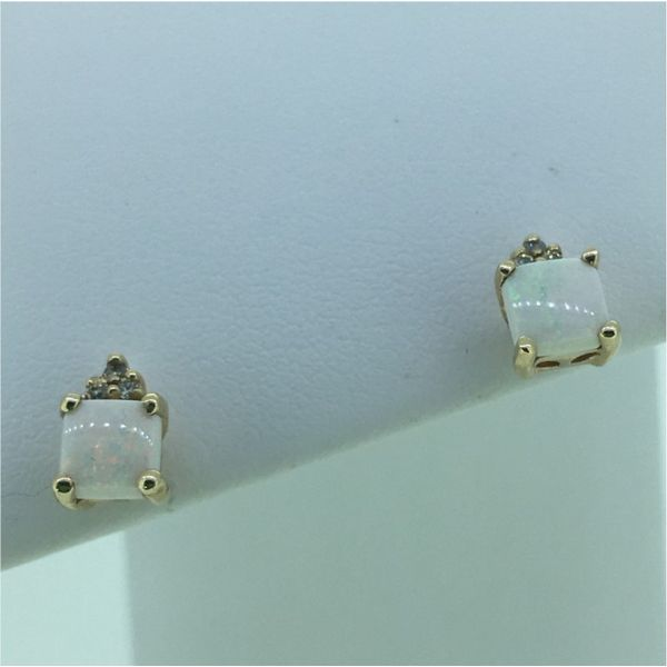 10k Diamond and Opal Earrings Goldrush Jewelers Marion, OH