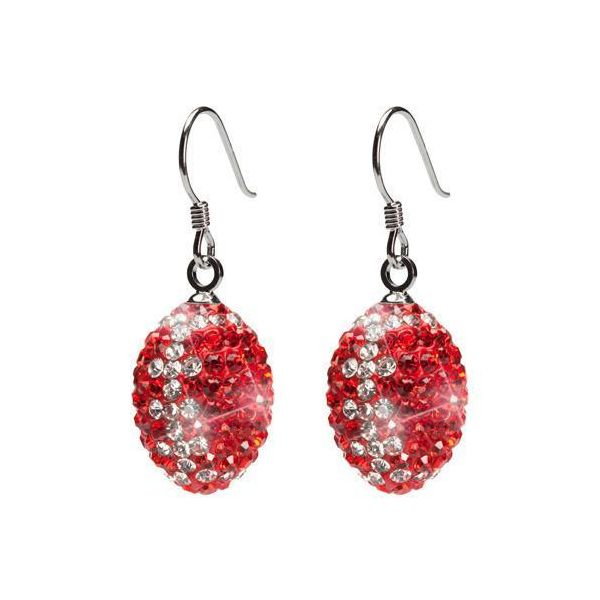 Stainless Steel Red and Clear Crystal Football Earrings Goldrush Jewelers Marion, OH