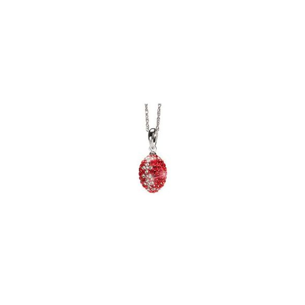 Stainless Steel Red and Clear Crystal Football Necklace Goldrush Jewelers Marion, OH