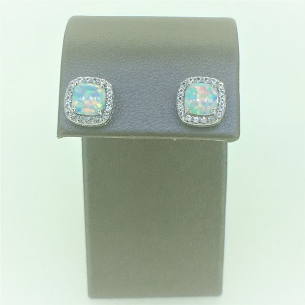 Sterling Silver Created Opal and CZ Earrings and Pendant Set Image 2 Goldrush Jewelers Marion, OH