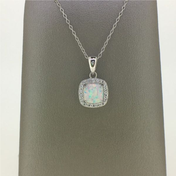 Sterling Silver Created Opal and CZ Earrings and Pendant Set Goldrush Jewelers Marion, OH