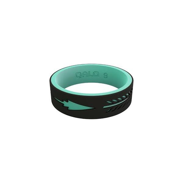 QALO WOMEN'S STRATA BLACK AND AQUA ARROW SILICONE RING Goldrush Jewelers Marion, OH