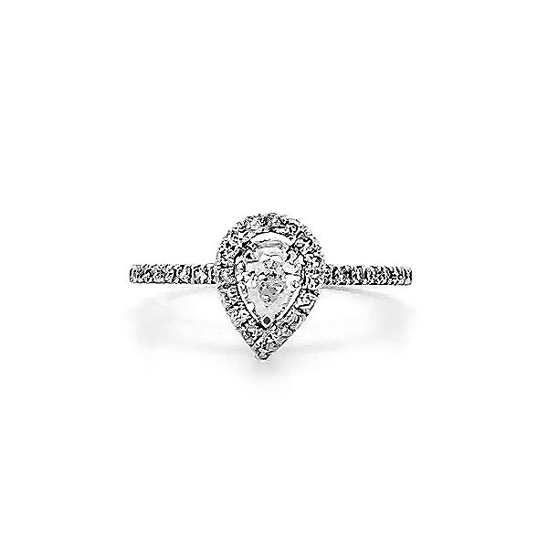 Pear Shape Halo Engagement Ring Goldstein's Jewelers Mobile, AL