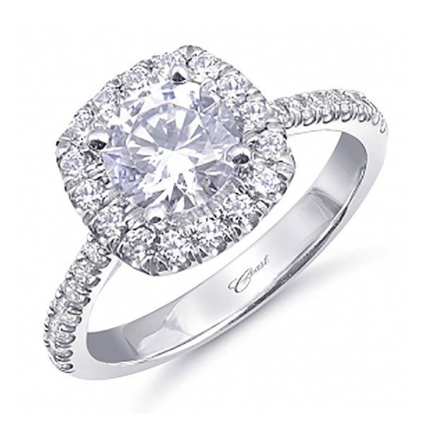Coast Diamond Halo Engagement Ring Goldstein's Jewelers Mobile, AL