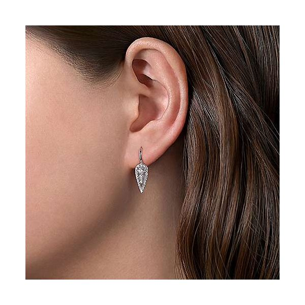 Gabriel Diamond Teardrop Cluster Earrings Image 2 Goldstein's Jewelers Mobile, AL