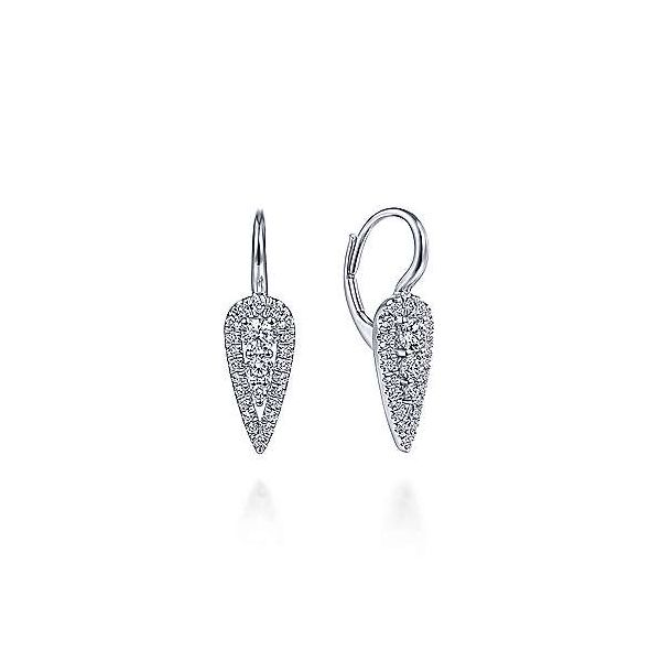 Gabriel Diamond Teardrop Cluster Earrings Goldstein's Jewelers Mobile, AL