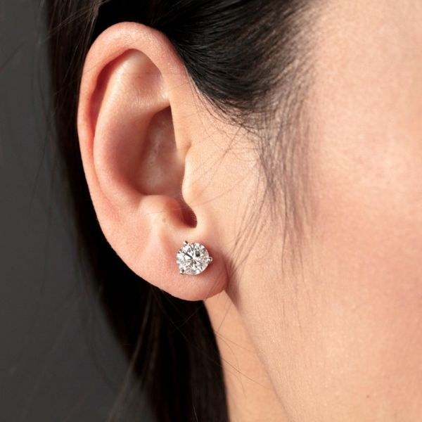 Diamond Solitaire Earrings Image 2 Goldstein's Jewelers Mobile, AL