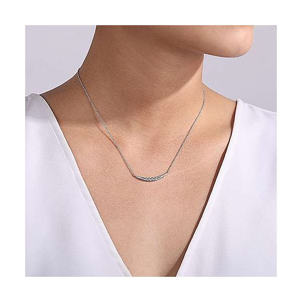 Gabriel Curved Diamond Bar Necklace Image 3 Goldstein's Jewelers Mobile, AL