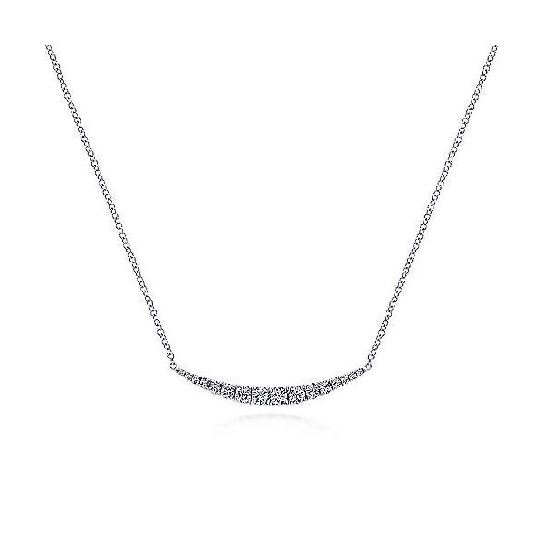 Gabriel Curved Diamond Bar Necklace Goldstein's Jewelers Mobile, AL
