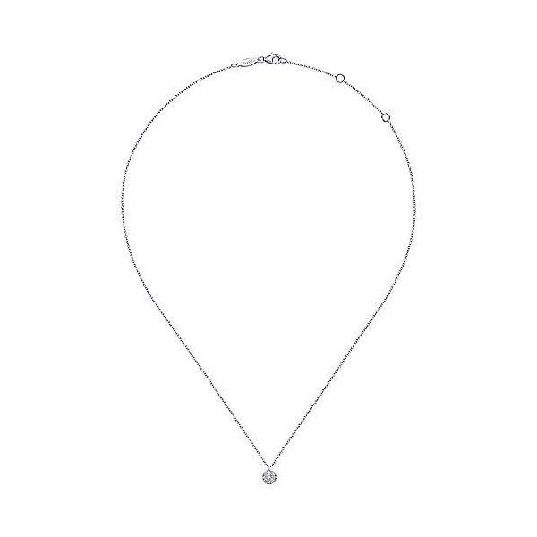 Gabriel Pave Diamond Disc Necklace Image 2 Goldstein's Jewelers Mobile, AL
