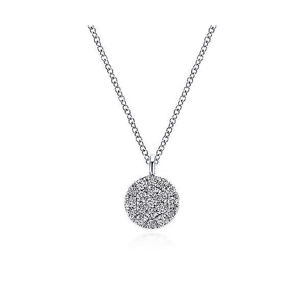 Gabriel Pave Diamond Disc Necklace Goldstein's Jewelers Mobile, AL