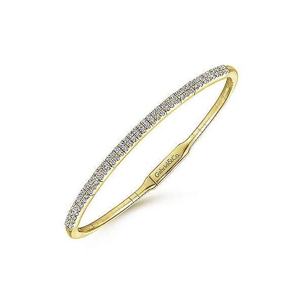 Gabriel Double Row Diamond Bangle Bracelet Image 2 Goldstein's Jewelers Mobile, AL