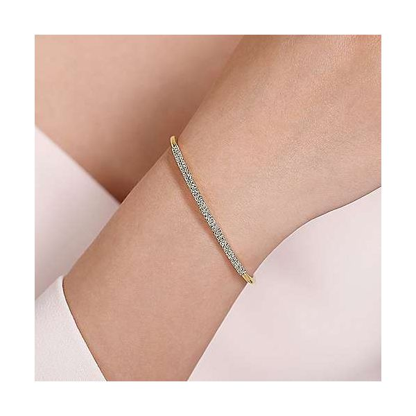 Gabriel Double Row Diamond Bangle Bracelet Image 4 Goldstein's Jewelers Mobile, AL