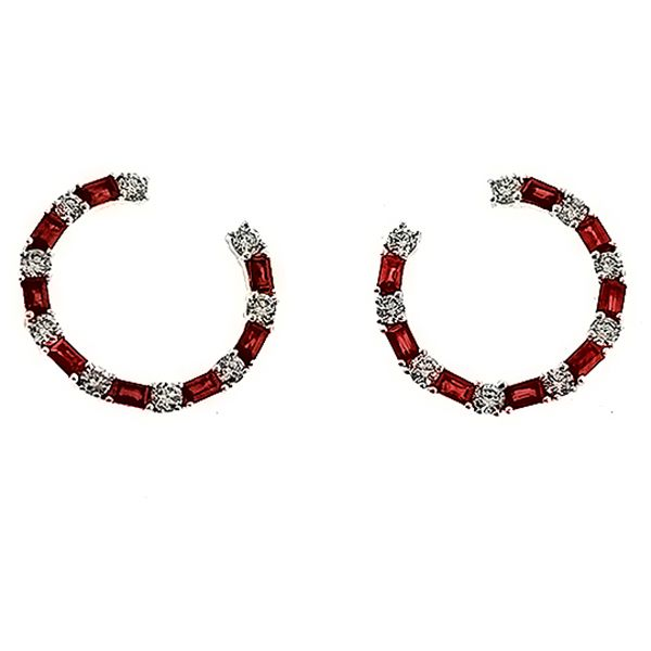 Ruby and Diamond Loop Earrings Goldstein's Jewelers Mobile, AL