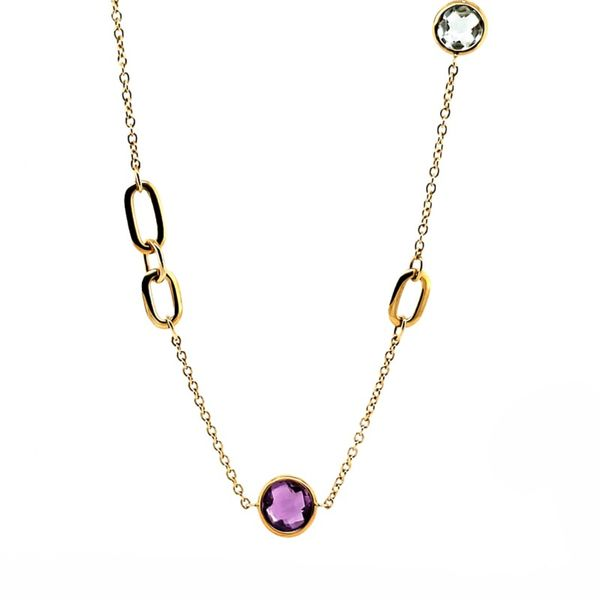 Mulit-stone Necklace With Gold Dividers Goldstein's Jewelers Mobile, AL