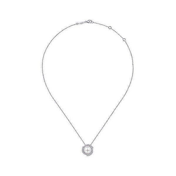 Gabriel Pearl and Diamond Necklace Image 2 Goldstein's Jewelers Mobile, AL