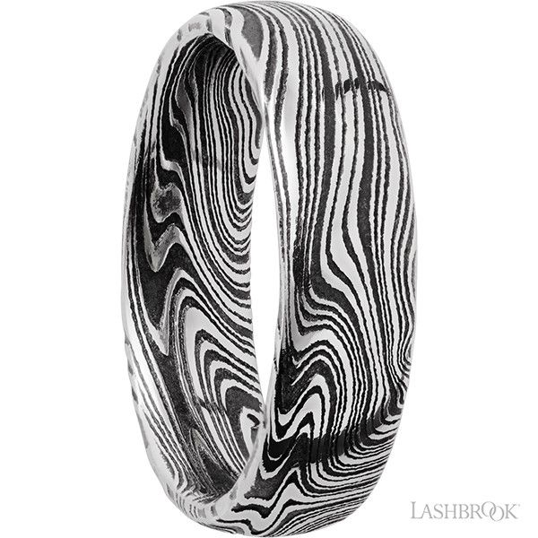 Damascus Steel Marbled Band Image 2 Goldstein's Jewelers Mobile, AL