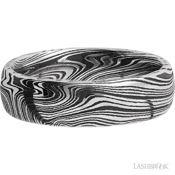 Damascus Steel Marbled Band Image 3 Goldstein's Jewelers Mobile, AL