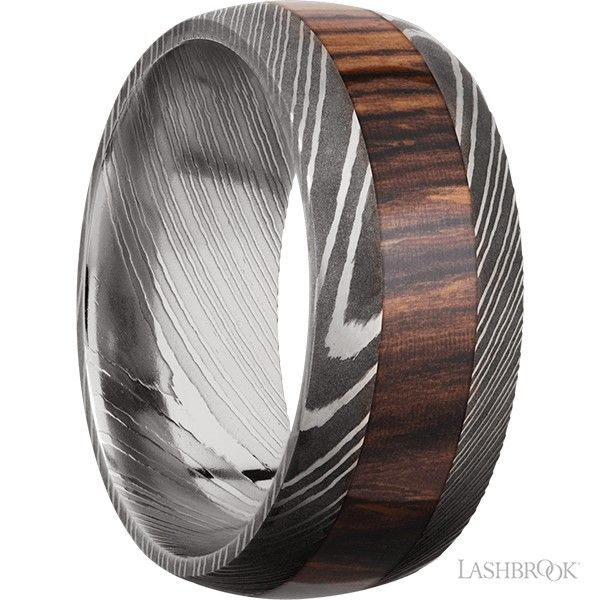 Damascus Steel and Wood Inlay Band Image 2 Goldstein's Jewelers Mobile, AL
