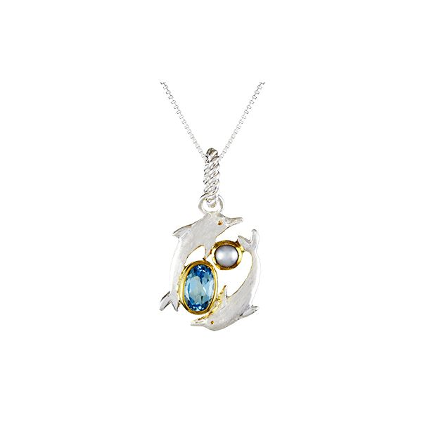 Michou Poseidon's Treasures Graceful Dolphins Necklace Goldstein's Jewelers Mobile, AL