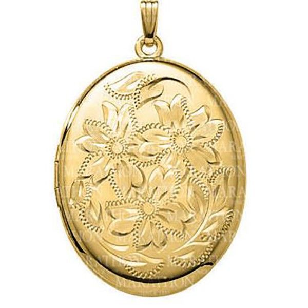 Floral Engraved Locket Necklace Goldstein's Jewelers Mobile, AL