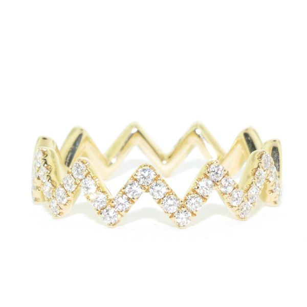 14KT Yellow Gold 0.31CTW Diamond Zig Zag Ring. Graziella Fine Jewellery Oshawa, ON