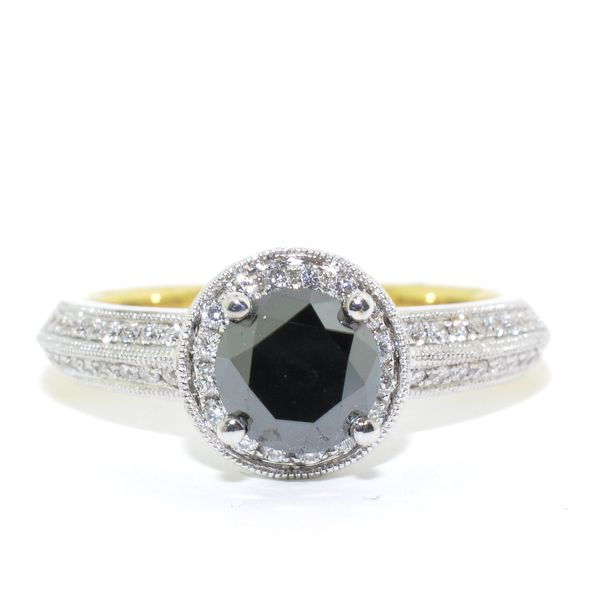 18KT Yellow and White Gold 1.44CTW Black and White Diamond Ring. Graziella Fine Jewellery Oshawa, ON