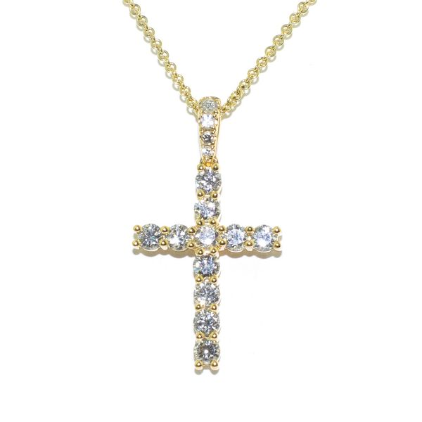 18KT Yellow Gold 1.50CTW Diamond Cross Pendant on 10KT Yellow Gold 18