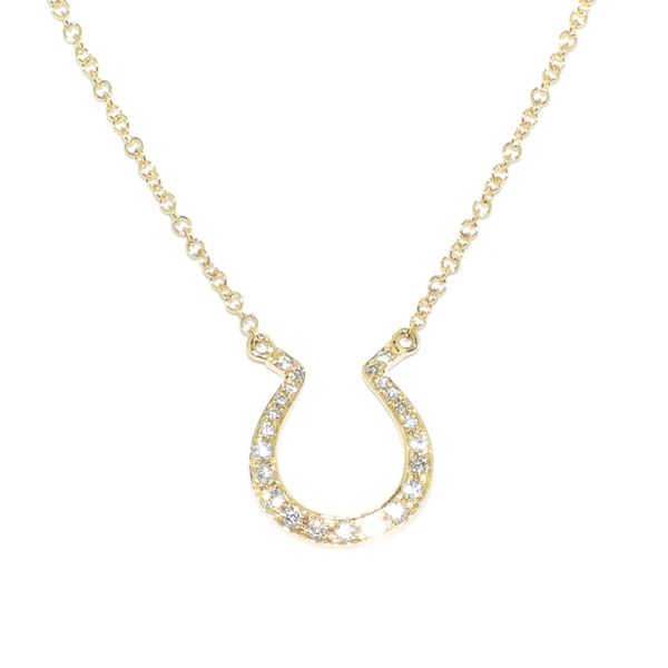 14KT Yellow Gold 0.12CW Diamond Horse Shoe Necklace. Graziella Fine Jewellery Oshawa, ON