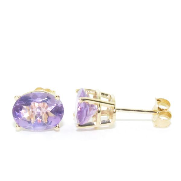 14KT Yellow Gold 2.05CTW Amethyst Stud Earrings. Graziella Fine Jewellery Oshawa, ON