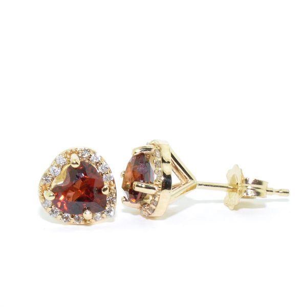 14KT Yellow Gold Garnet and Diamond Earrings. Graziella Fine Jewellery Oshawa, ON