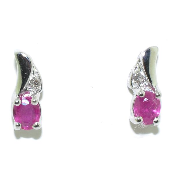 14KT White Gold Ruby and Diamond Earrings. Graziella Fine Jewellery Oshawa, ON