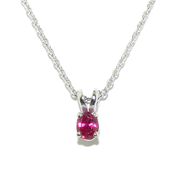 14KT White Gold 4x3MM Ruby Pendant on 10Kt Yellow Gold 18