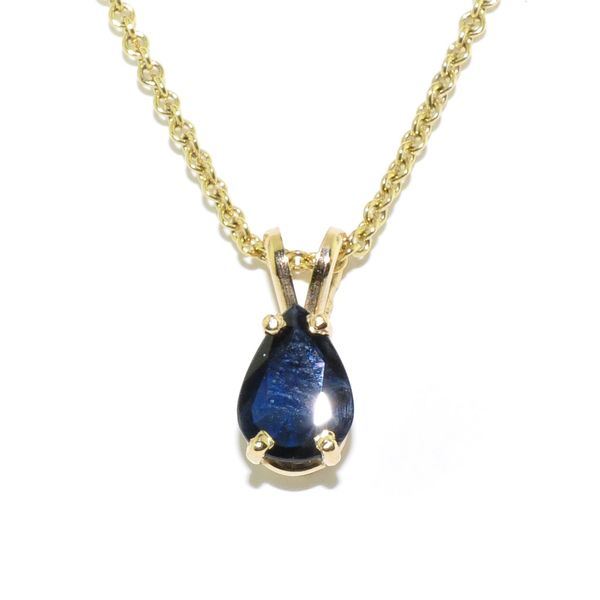 14KT Yellow Gold 1.02CT Blue Sapphire Pendant on 10KT Yellow Gold 18