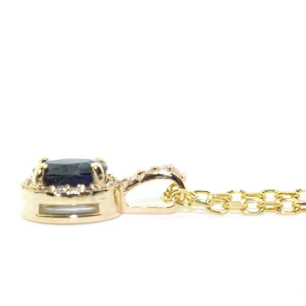14KT Yellow Gold Blue Sapphire and Diamond Pendant on 10KT Yellow Gold 18