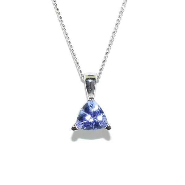 14KT White Gold 0.50CT 5MM Tanzanite Pendant On 10KT White Gold 18