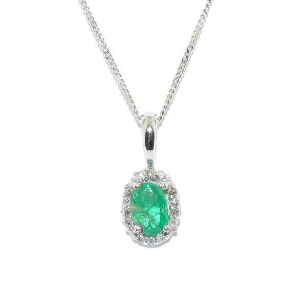 14KT White Gold 0.33CT Emerald and Diamond Pendant on 10KT White Gold 18